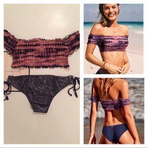 VS PINK SMOCKED OFF SHOULDER TOP Bling Bikini Set